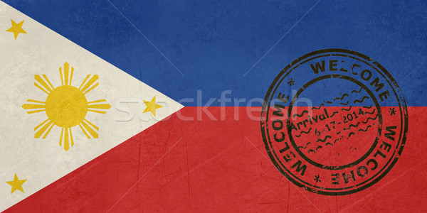 Welcome to Philippines flag with passport stamp Stock photo © speedfighter