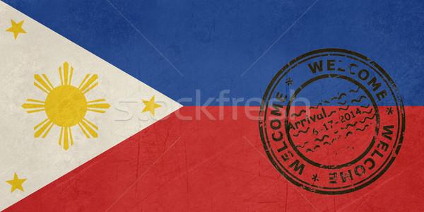 Widziane Filipiny banderą paszport pieczęć podróży Zdjęcia stock © speedfighter