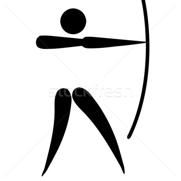 íjászat felirat fekete szimbólum izolált fehér Stock fotó © speedfighter