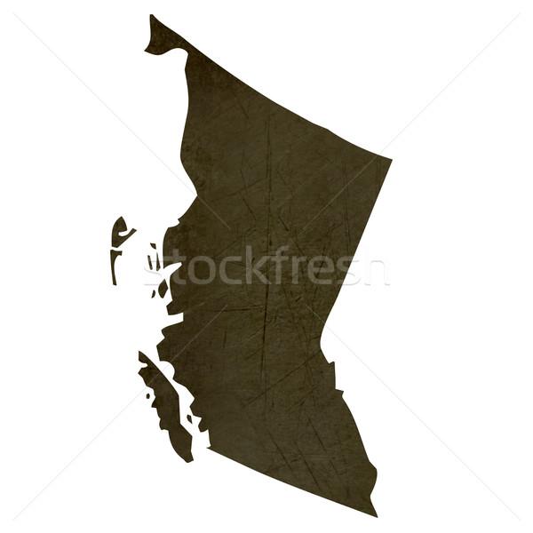 Dark silhouetted map of British Columbia Stock photo © speedfighter