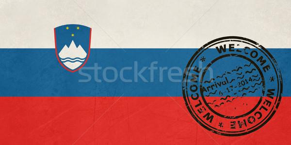 приветствую Словения флаг паспорта штампа путешествия Сток-фото © speedfighter