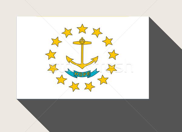 Amerikan Rhode Island bayrak web tasarım stil düğme Stok fotoğraf © speedfighter