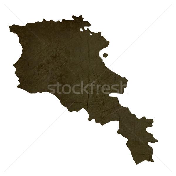 Stock fotó: Sötét · térkép · Örményország · mintázott · izolált · fehér
