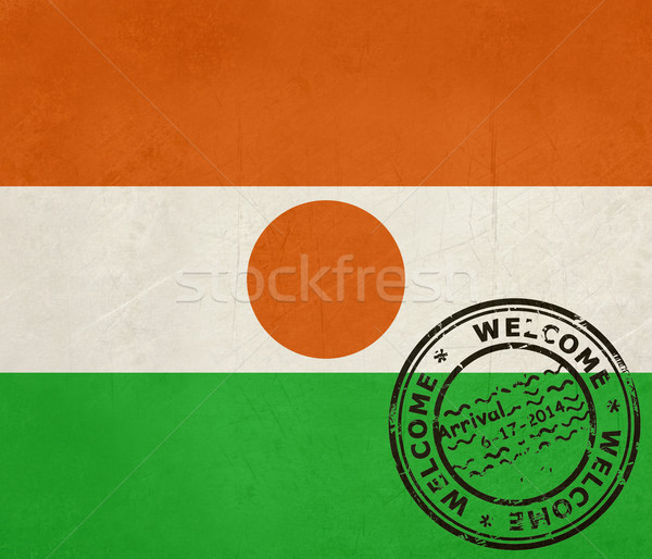Welcome to Niger flag with passport stamp Stock photo © speedfighter