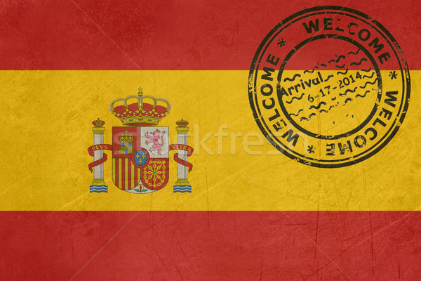 Welcome to Spain flag with passport stamp Stock photo © speedfighter