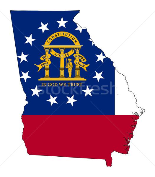 Grúzia zászló térkép izolált fehér USA Stock fotó © speedfighter