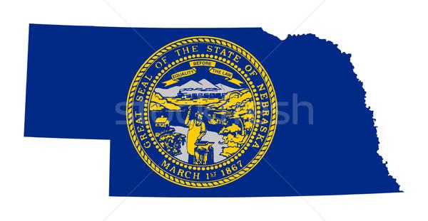 Nebraska zászló térkép izolált fehér USA Stock fotó © speedfighter
