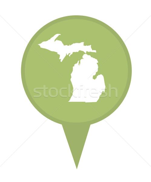 Michigan mapa pin americano marcador aislado Foto stock © speedfighter