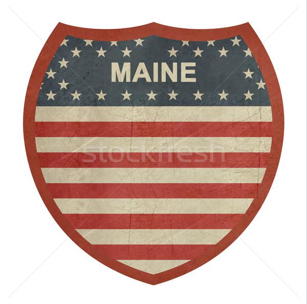 Grunge Maine amerikan eyaletler arası otoyol işareti yalıtılmış Stok fotoğraf © speedfighter