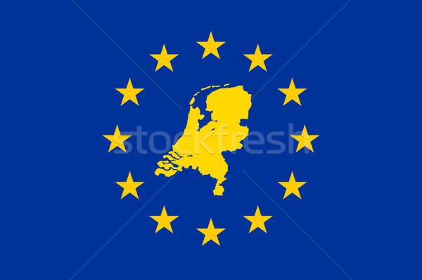 ストックフォト: オランダ · ヨーロッパの · フラグ · 地図 · 組合 · 黄色