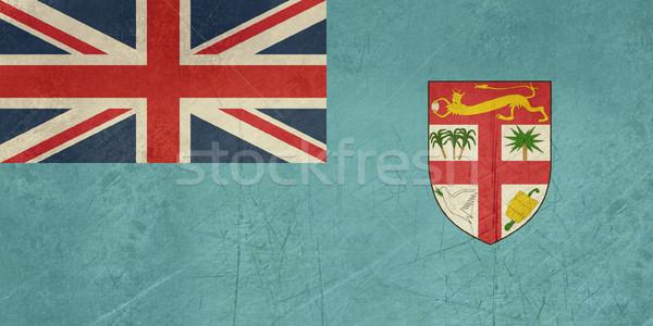 Grunge Fidzsi-szigetek zászló vidék hivatalos színek Stock fotó © speedfighter