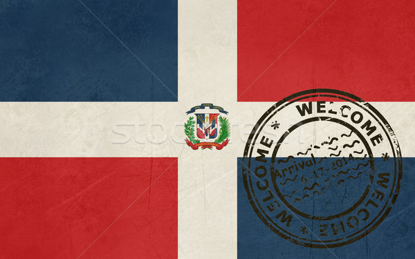 Welcome to the Dominican Republic flag with passport stamp Stock photo © speedfighter