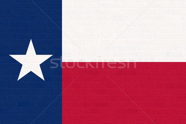 テキサス州 フラグ レンガの壁 アメリカ 孤立した 白 ストックフォト © speedfighter