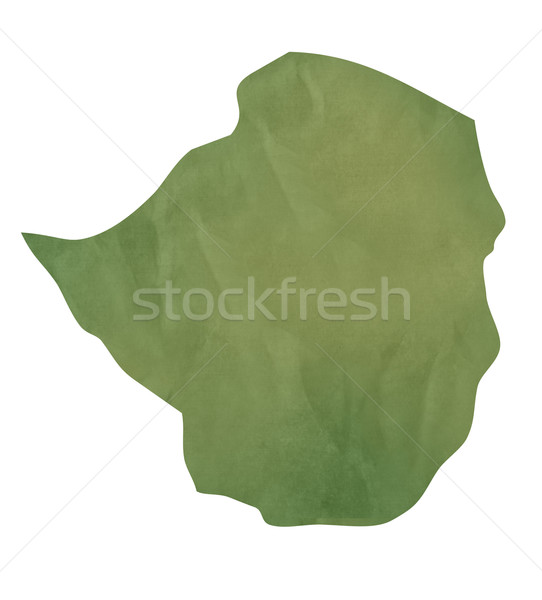 Vieux vert papier carte Zimbabwe isolé Photo stock © speedfighter