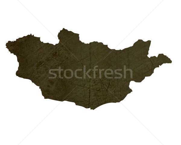 Dark silhouetted map of Mongolia Stock photo © speedfighter