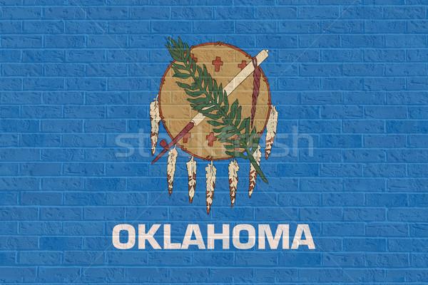 Oklahoma vlag muur amerika geïsoleerd witte Stockfoto © speedfighter