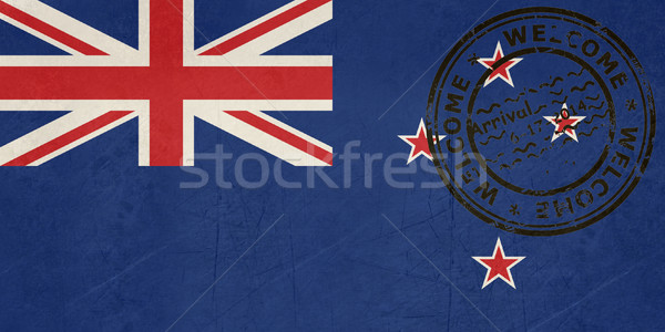 Welcome to New Zealand flag with passport stamp Stock photo © speedfighter