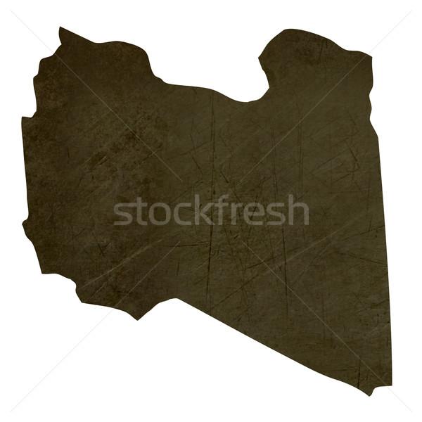 Dark silhouetted map of Libya Stock photo © speedfighter