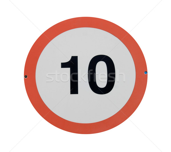 Limite de vitesse panneau de signalisation rouge 10 isolé blanche Photo stock © speedfighter