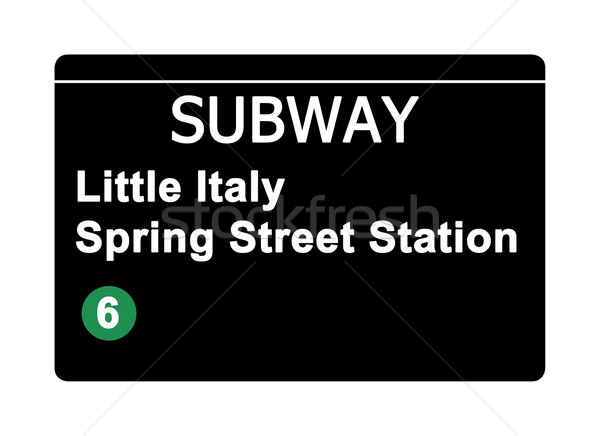 Little Italy Spring Street Station subway sign Stock photo © speedfighter
