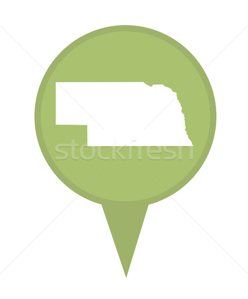 Nebraska kaart pin amerikaanse fiche geïsoleerd Stockfoto © speedfighter