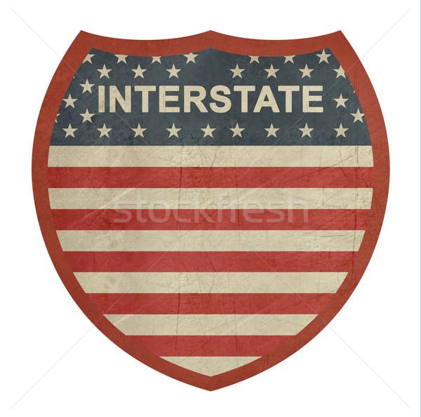 Grunge americano interestadual sinal da estrada isolado branco Foto stock © speedfighter