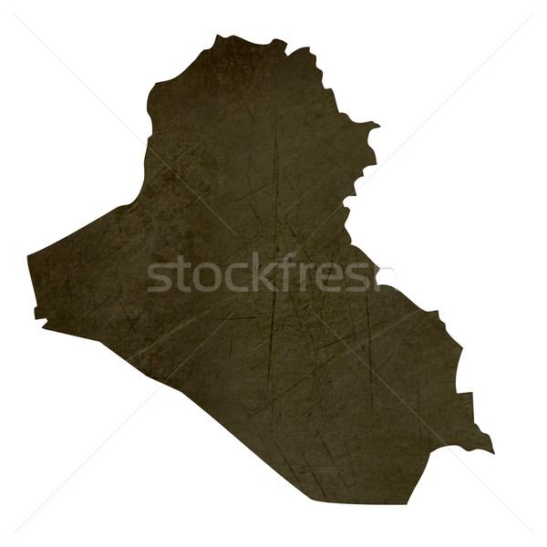 Dark silhouetted map of Iraq Stock photo © speedfighter
