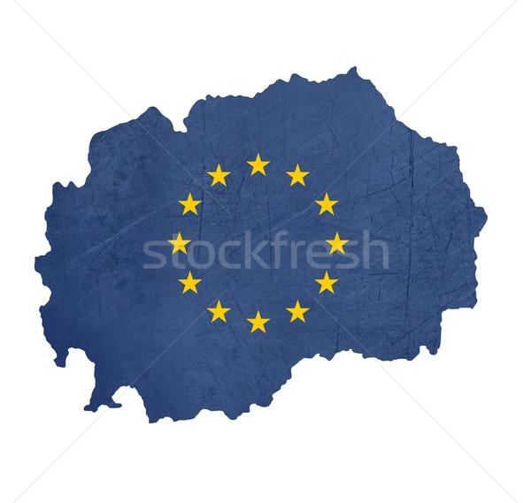 европейский флаг карта Македонии изолированный белый Сток-фото © speedfighter