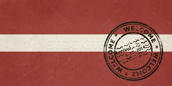 Welkom Letland vlag paspoort stempel reizen Stockfoto © speedfighter