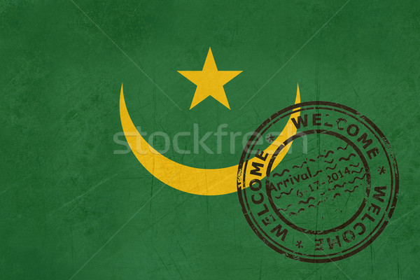 Welcome to Mauritania flag with passport stamp Stock photo © speedfighter