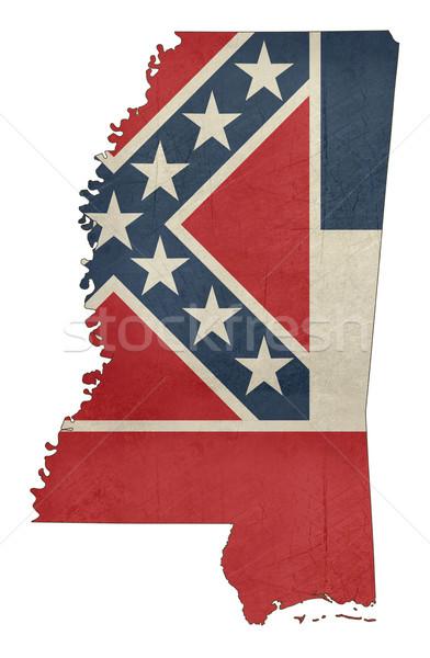 Grunge Mississipi bayrak harita yalıtılmış beyaz Stok fotoğraf © speedfighter