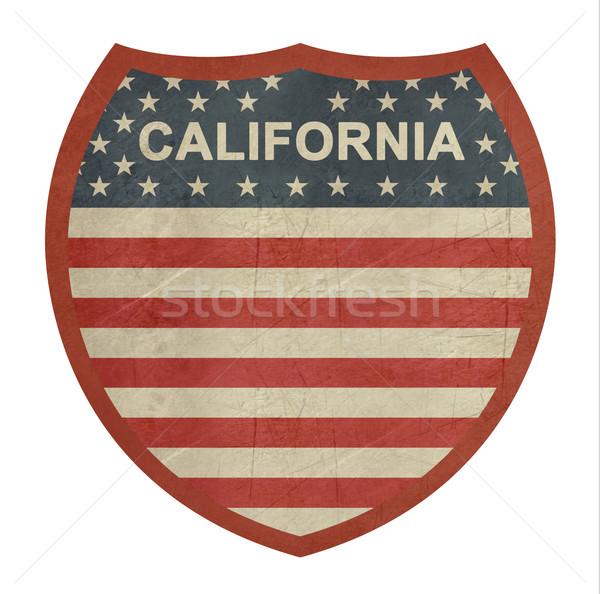 Grunge Califórnia americano interestadual sinal da estrada isolado Foto stock © speedfighter