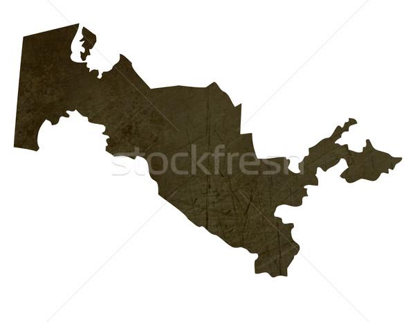 Sötét térkép Üzbegisztán mintázott izolált fehér Stock fotó © speedfighter
