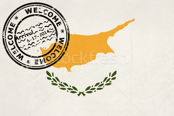 Welcome to Cyprus flag with passport stamp Stock photo © speedfighter