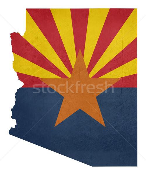 Гранж Аризона флаг карта изолированный белый Сток-фото © speedfighter