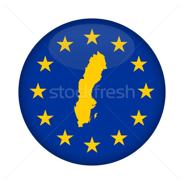 Sweden map European Union flag button Stock photo © speedfighter
