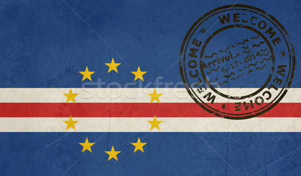 Stock photo: Welcome to Cape Verde flag with passport stamp