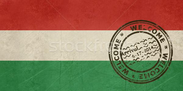 Bem-vindo Hungria bandeira passaporte carimbo viajar Foto stock © speedfighter