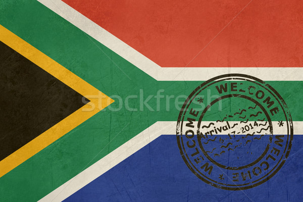 Welcome to South Africaflag with passport stamp Stock photo © speedfighter