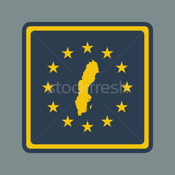 Zweden europese vlag knop sympathiek web design Stockfoto © speedfighter