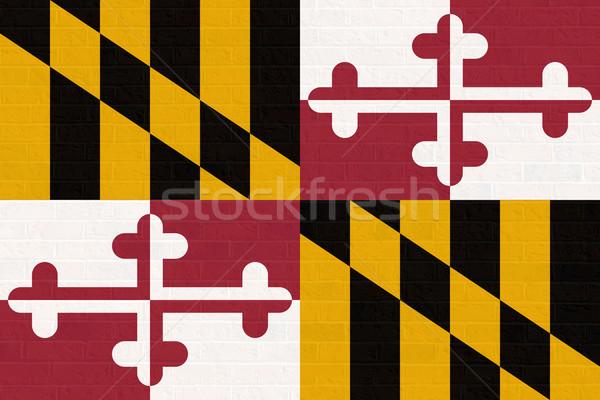 Maryland bandiera muro di mattoni america isolato bianco Foto d'archivio © speedfighter