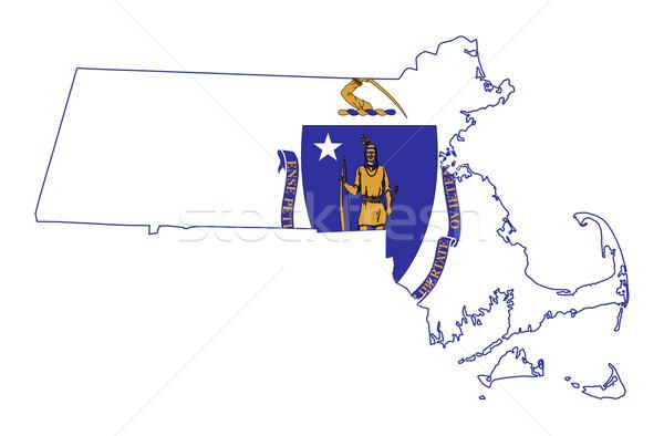 State of Massachusetts flag map Stock photo © speedfighter