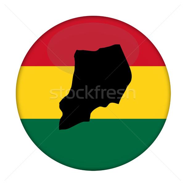 Uganda map on a Rastafarian flag button Stock photo © speedfighter