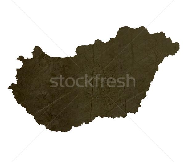 Dark silhouetted map of Hungary Stock photo © speedfighter