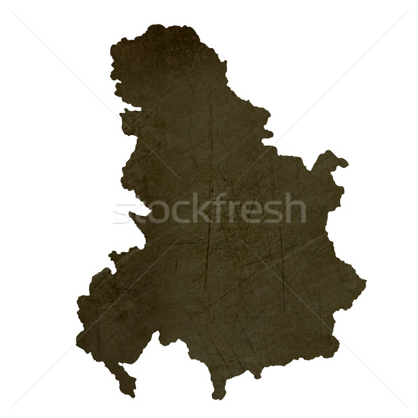 Dark silhouetted map of Serbia and Montenegro Stock photo © speedfighter