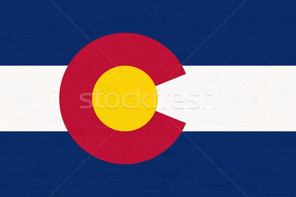 Stock fotó: Colorado · zászló · téglafal · Amerika · izolált · fehér