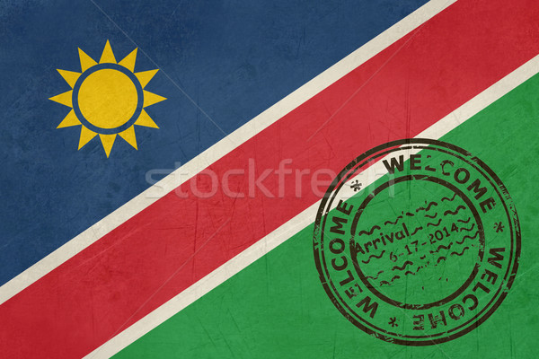 Welcome to Namibia flag with passport stamp Stock photo © speedfighter