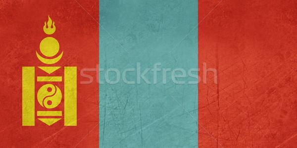 Grunge Mongólia zászló vidék hivatalos színek Stock fotó © speedfighter