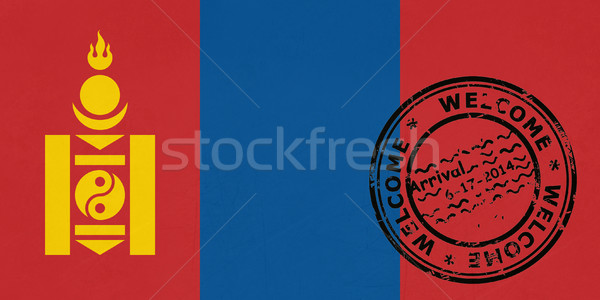 Welcome to Mongolia flag with passport stamp Stock photo © speedfighter
