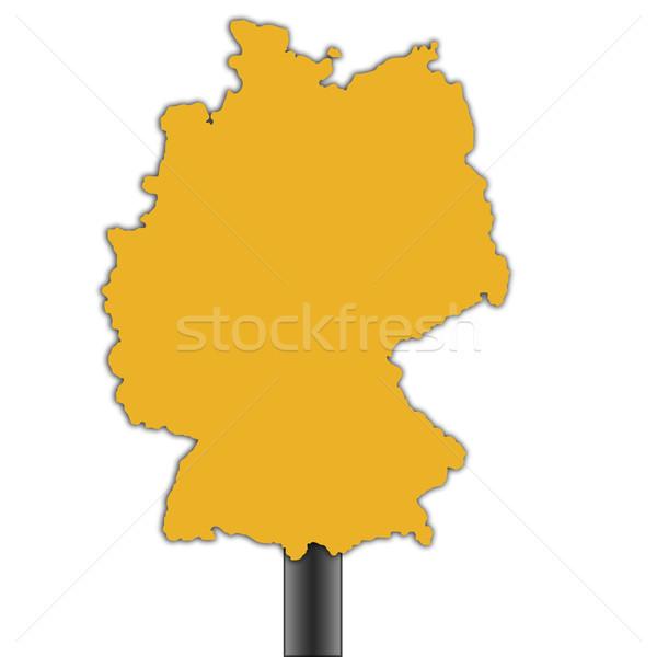 Photo stock: Allemagne · carte · panneau · routier · isolé · blanche · route
